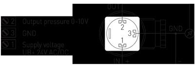 Tilslutningsdiagram for trykføler SHD-U