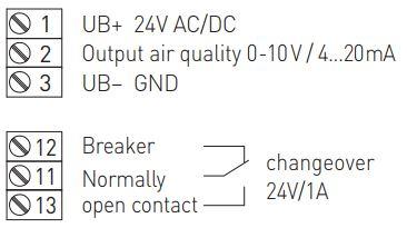 Tilslutningsdiagram VOC luftkvalitetsføler