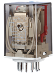 Billede af Stikbensrelæ, 3 omskifter og LED. Spolespænding 230V/AC.