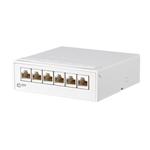 Billede af CAT6a 500 Mhz hvid mini Patchpanel / Krydsfelt med 6 udtag