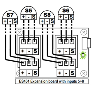 Udvidelsesmodul ES404 med 4 analoge indgange.