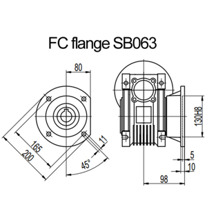 Billede af FC flange til snekkegear SB063 udgangsside D=200mm