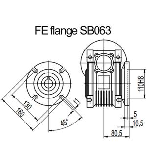 Billede af FE flange til snekkegear SB063 udgangsside D=160mm