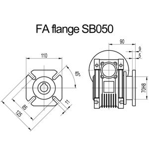 Billede af FA flange til snekkegear SB050 udgangsside D=125mm