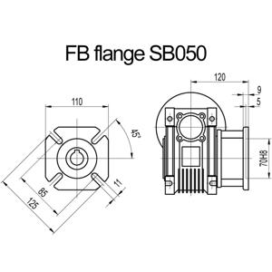 Billede af FB flange til snekkegear SB050 udgangsside D=125mm