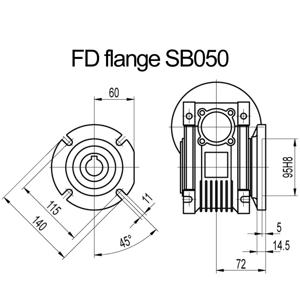 Billede af FD flange til snekkegear SB050 udgangsside D=140mm