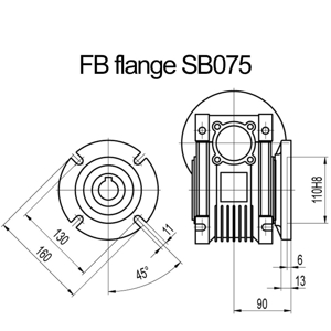 Billede af FB flange til snekkegear SB075 udgangsside D=160mm