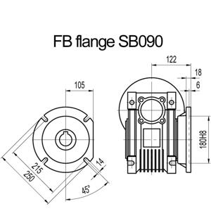 Billede af FB flange til snekkegear SB090 udgangsside D=250mm