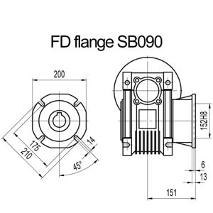 Billede af FD flange til snekkegear SB090 udgangsside D=210mm