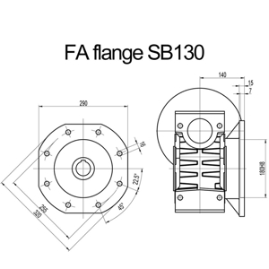Billede af FA flange til snekkegear SB130 og SB150 udgangsside D=320mm