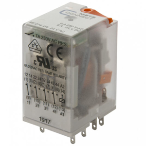 Billede af Stikbens relæ 24V/AC, 4 omskifter og LED
