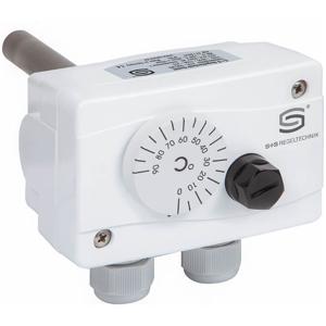 """Billede af Kedeltermostat, rustfri dykrør 200mm, med """"TR"""" udvendig indstilling og med """"STB"""" sikkerhedstemperaturbegrænser. Måleområde 0...+60°C/+65...+85°C IP65."""