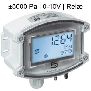 Billede af Differenstryktransmitter | 0-10V | ±5000 Pa | Display | Relæ udgang | til luft