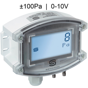 Billede af Differenstryktransmitter til luft med display | Maks. måleområde ±100 Pa | 0-10V udgangssignal