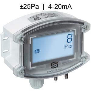 Billede af Differenstryktransmitter til renrum med display | Maks. måleområde ±25 Pa | 4-20mA udgangssignal