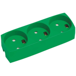 Billede af Stikkontaktdåse grøn, 3-stikdåse med jord | Forstærket | Pillesikker