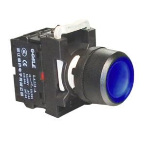 """Billede af Blå lampetryk med 24V AC/DC LED og 1 slutte """"NO"""""""