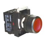 """Billede af Rød lampetryk med 230V AC/DC LED og 1 slutte """"NO"""""""