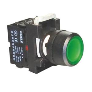 """Billede af Grøn lampetryk arreterende, 230V AC/DC LED og 1 slutte """"NO"""""""