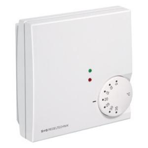 Billede af Rumtemperaturregulator varme/køle-funktion med 0-10V udgangssignaler. Indstilling 5...35°C - med ekstern sensor og LED: rød=varme / blå=køle.