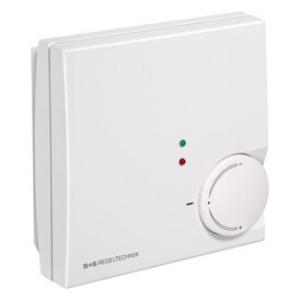 Billede af Rumtemperaturregulator varme/køle-funktion med 0-10V udgangssignaler og med ekstern sensor og LED. Indstilling 21 °C (± 8 K) med drejeknap
