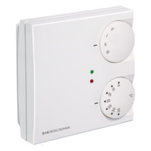 Billede af Rumtemperaturregulator varme/køle-funktion med 0-10V udgangssignaler og med omskifter 0-I-II-III til ventilator og LED. Indstilling: 5...+30°C