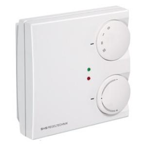 Billede af Rumtemperaturregulator varme/køle-funktion med 0-10V udgangssignal og  med drejeknap, omskifter 0-I-II-III til ventilator og LED. Extern sensor. Indstilling: 21°C (± 8K) fra setpunktet