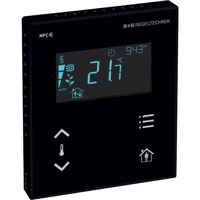 Billede af Modbus rumcontroller sort   touch til temperatur   til stede