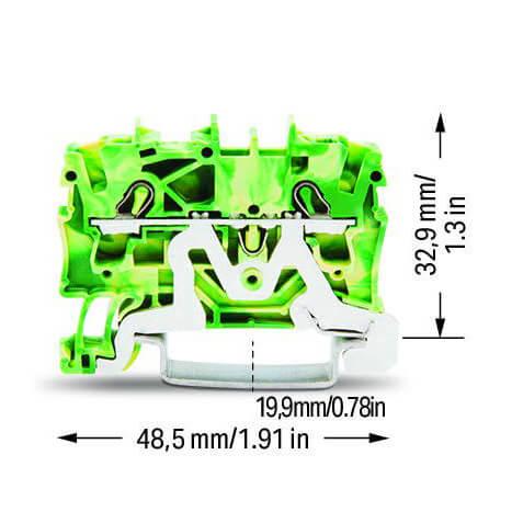 Billede af Gul/grøn rækkeklemme 2,5 mm²