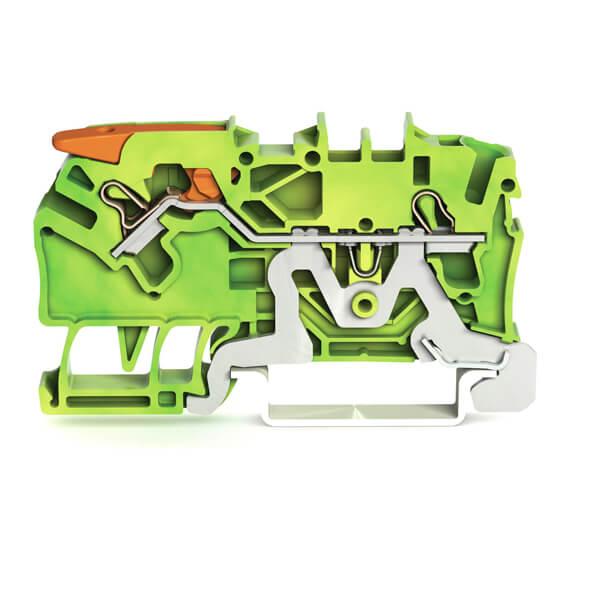 Billede af Gul/grøn rækkeklemme 2,5 mm² med pal