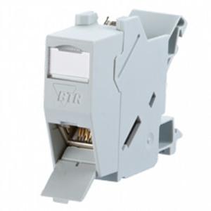 Billede af RJ45 netværksdåse til montering på DIN skinne med Cat6A konnektor