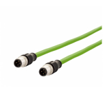 Billede af M12 ethernet kabel 4 polet | Længde 1m | 2 stik | egnet til kabelkæde | Cat 5e