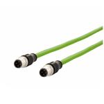 Billede af M12 ethernet kabel 4 polet | Længde 2m | 2 stik | egnet til kabelkæde | Cat 5e