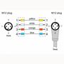 Billede af Vinklet M12 ethernet kabel 4 polet -> lige M12   Profibus   1m
