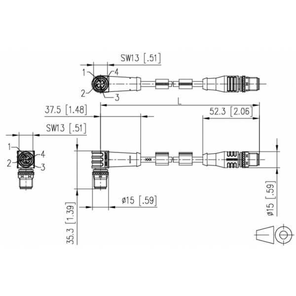 Billede af Vinklet M12 ethernet kabel 4 polet -> lige M12 | Profibus | 2m