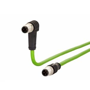 Billede af Vinklet M12 ethernet kabel 4 polet -> lige M12 | Profibus | 10m