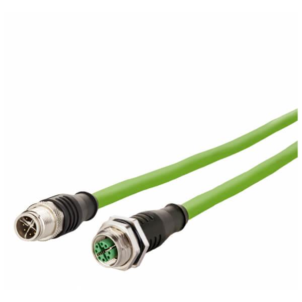 Billede af M12 han -> hun ethernet kabel 8 polet | Cat 6a | 1m