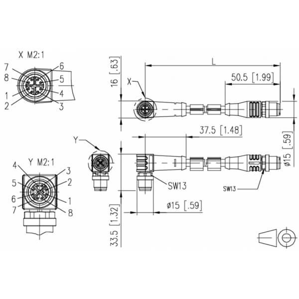 Billede af Vinklet M12 position of coding 315° ethernet kabel 8 polet -> lige M12 | 2m