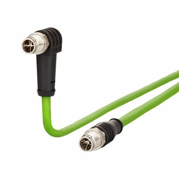 Billede af Vinklet M12 position of coding 45° ethernet kabel 8 polet -> lige M12 | Cat 6a | 1m