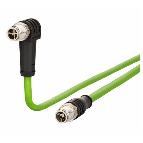 Billede af Vinklet M12 position of coding 225° ethernet kabel 8 polet -> lige M12 | 2m