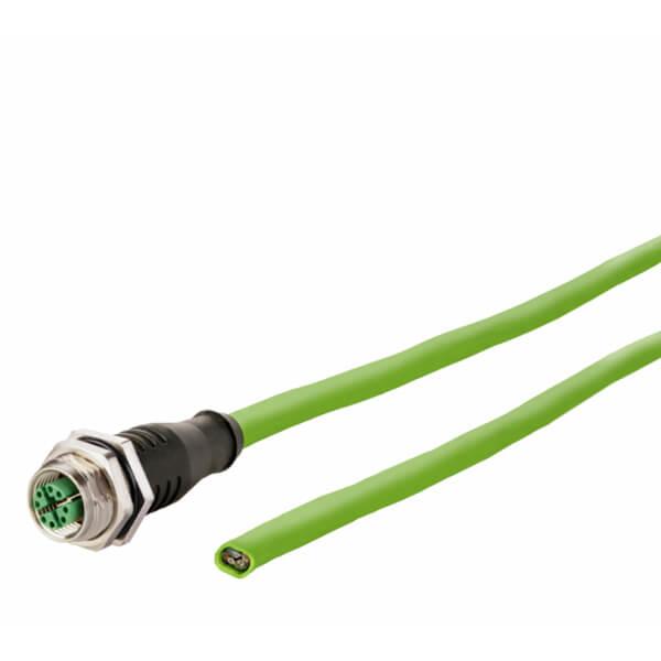 Billede af M12 hun stik ethernet kabel 8 polet -> fri ende   2m