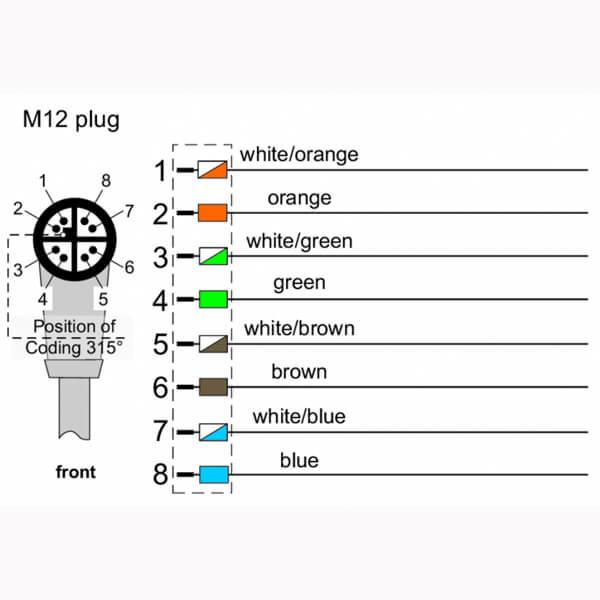 Billede af Vinklet M12 position of coding 315° ethernet kabel 8 polet -> fri ende | 1m
