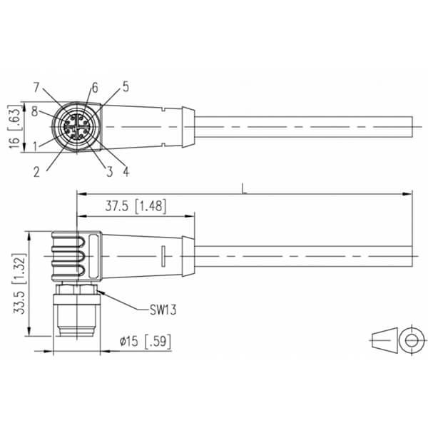 Billede af Vinklet M12 position of coding 315° ethernet kabel 8 polet -> fri ende | 5m