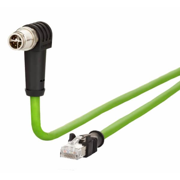 Billede af Vinklet M12 position of coding 315° ethernet kabel 8 polet -> RJ45 | 10m