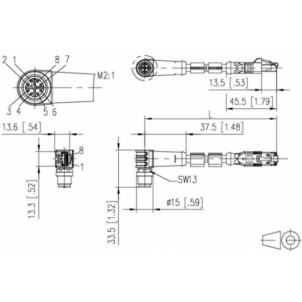Billede af Vinklet M12 position of coding 45° ethernet kabel 8 polet -> RJ45 | 1m