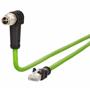 Billede af Vinklet M12 position of coding 45° ethernet kabel 8 polet -> RJ45 | 2m