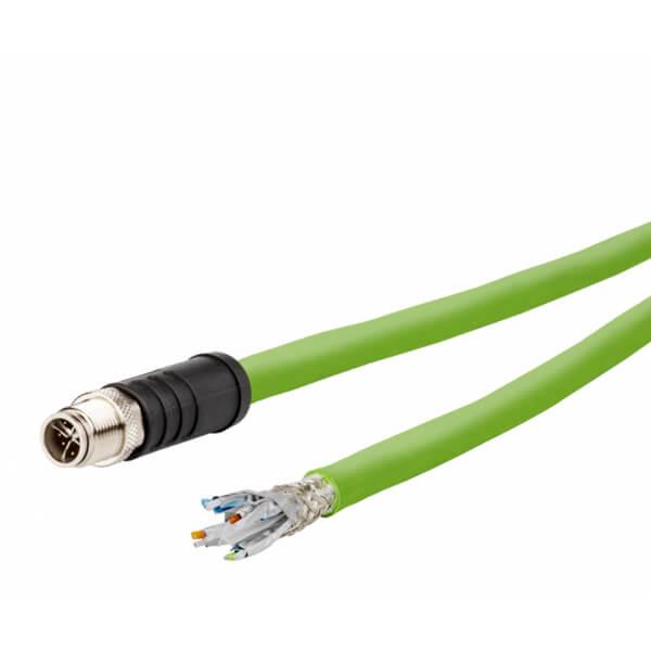 Billede af M12 ethernet kabel 8 polet -> fri ende | egnet til kabelkæde | 10m