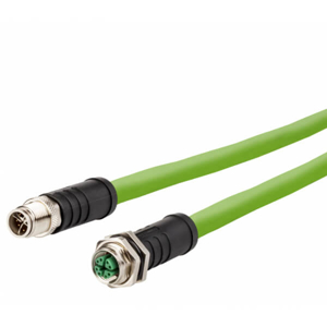 Billede af M12 han -> hun ethernet kabel 8 polet | egnet til kabelkæde | 5m