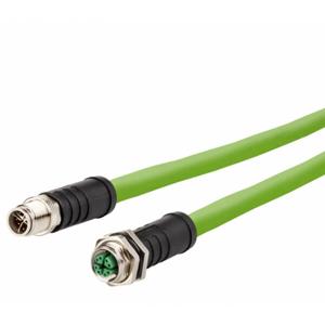 Billede af M12 han -> hun ethernet kabel 8 polet | egnet til kabelkæde | 10m