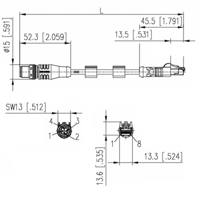 Billede af M12 ethernet kabel 4 polet -> RJ45 | Cat 5e | Profibus | 1m | egnet til kabelkæde
